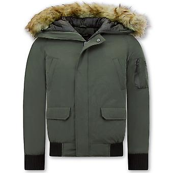 Short Winter Coat - With Faux Fur Collar - Green