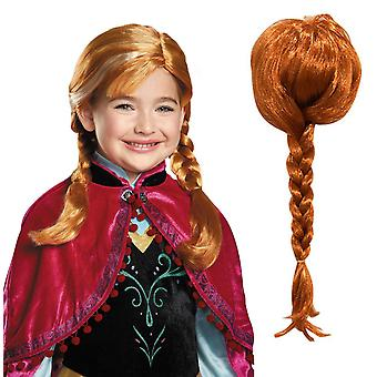 Kids Frozen Princess Anna Queen Cosplay Costume Party Fancy Dress Wig