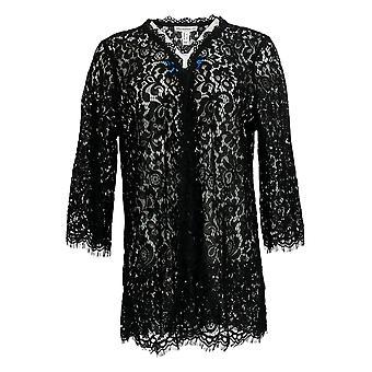 Isaac Mizrahi Live! Damen's Top Open Front Spitze Kimono Schwarz A305239