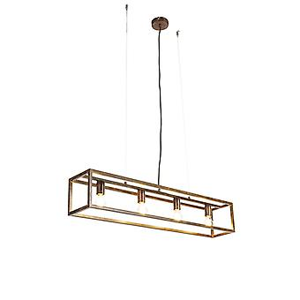 QAZQA Industrial hanging lamp rusty brown 4-light - Cage