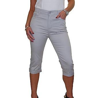 iscoolfashion kvinners uformelle høy midje 3/4 avling capri stretch chino bukser