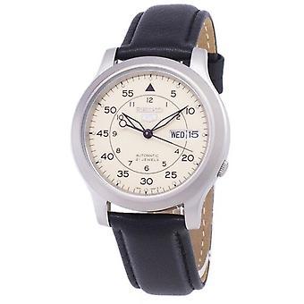 Seiko 5 Sotilaallinen Snk803k2-ss3 Automaattinen musta nahkahihna Miehet's Watch