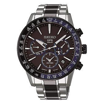 Seiko SSH009J1 Astron svart blå och silver rostfritt stål GPS Solar Men's Watch