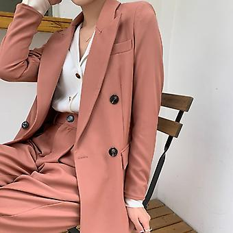 Solid Women Blazer Suits, Long Sleeve Double Breasted Pants Set, Two-piece