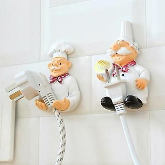 2pcs/lot Cute Self Adhesive Wall Plug Holder Hook Kitchen Plug Hanger