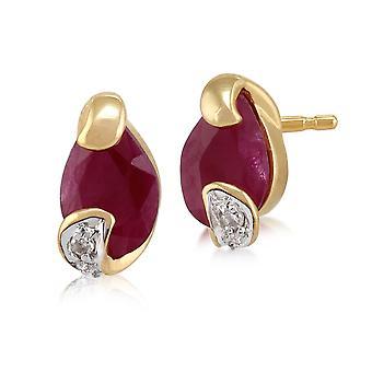 Art Nouveau Style Ruby & Diamond Stud Earrings in 9ct Yellow gold 123E0633039