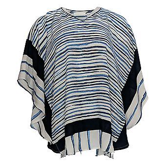 Susan Graver Women's Top V-Neck Striped White A376590