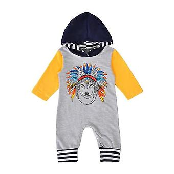 Newborn Baby Boys Girls Indian Wolf Hoodie Romper Outfit