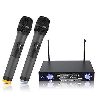 Professional Wireless 2 Channel Dual Wireless Handheld Mic Microphone System for Studio Karaoke Musi