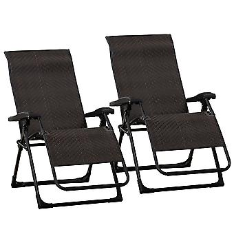 Outsunny Set of 2 Rattan Sun Lounger Zero Gravity Patio Deck Chairs Folding Recliner Indoor Outdoor Back Adjustable Chair Brown