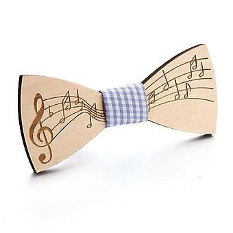 Wooden Bow Tie, Unisex Hollow Out Carved Retro Wooden Neckties