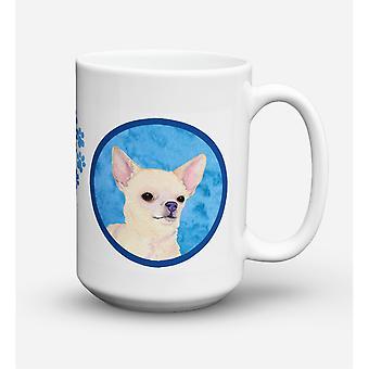 Caroline's Treasures SS4748-BU-CM15 Chihuahua Microwavable Ceramic Coffee Mug, 15 oz, Multicolor