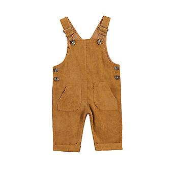 Pantalon de suspension en velours côtelé avec boutons amples, pantalons poches, réglables
