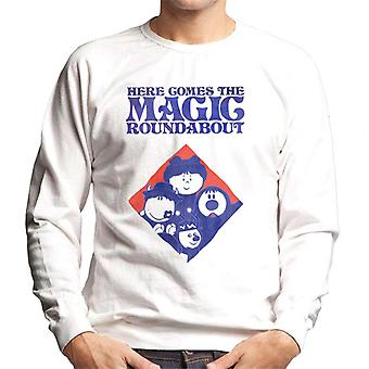 den magiske rundkjøringen retro blå tone diamant menn og apos; s sweatshirt