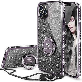 OCYCLONE Hlle fr iPhone 12 Pro Max, Glitter Diamant Handyhlle mit Ringstnder Schutzhlle fr Mdchen