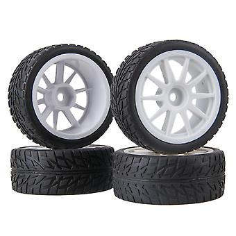 4pcs RC1:10 på veien bil flamme type gummi dekk og hvit plast 10-eiker hjul