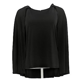 IMAN Global Chic Women's Top Jersey Stretch Knit Caped Shell Black 722613