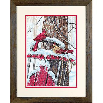 Dimensions Counted Cross Stitch: Cardinals on Sled
