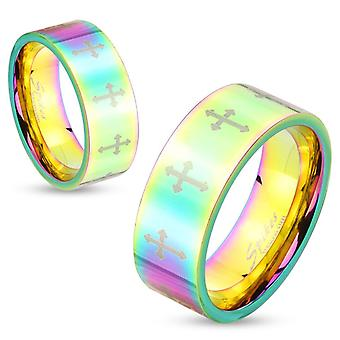 Stainless steel rainbow hued cross pattern band couple wedding ring