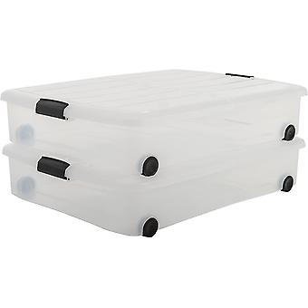 Gerui Amazon Brand - 140068 Under Bed Box with Wheel 50L Clear (Pack of 2)