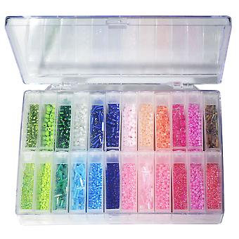 Basic Elements, Glass Seed Bead Assortment and Storage Container, Size 6/0, 11/0 Round Beads & 5mm Bugle Beads