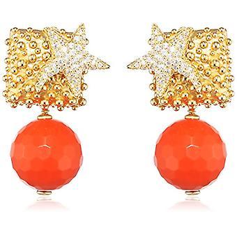 misis Woman-EarringsMoorea Silver 925 White Zircons Agata 3 cm - OR09199RO, red