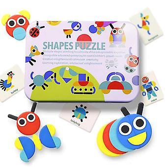 Kształt zwierząt 3D Puzzle Cognitive Color Learning Zabawka Interaktywna Gra Dziecko Zabawki edukacyjne| Bloki