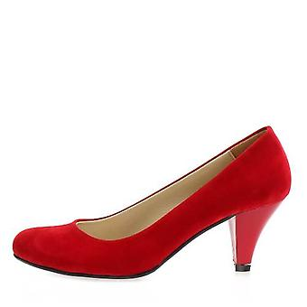 Red Suede Short Heeled Shoes Ma-006