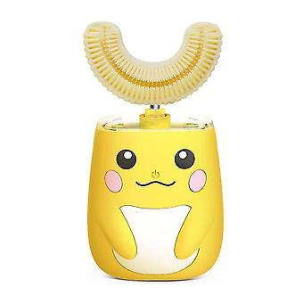 Gele ultrasone kinderen elektrische tandenborstel slimme timer ipx7 voor peuters 2-8 jaar cai53