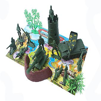 New 22pcs World War 5cm Army Soldiers Toyset With Plane Cover Battlefield Figures ES12798