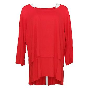 Joan Rivers Classics Collection Women's Plus Top Knit Layered Red A302582