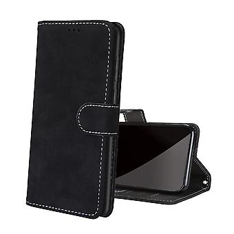 Case For Samsung Galaxy S21 Ultra Retro Leather Cover Card Holder Kickstand Shockproof Magnetic Closure - Black