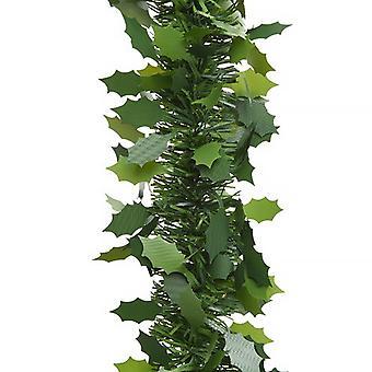 2,7m hieno leikattu mänty vihreä holly lehti joulu tinsel sisustus