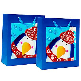 Christmas Character Gift Bags With Gorgeous Designs and Ribbon Handles Pack of 2