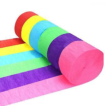 6 rouleaux de papier crêpe Streamers Décoration pour fête d'anniversaire, mariage, ornement de festival, 6 couleurs4.5 * 90cm