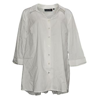 Colleen Lopez Women's Top Bow Back Button Down Blouse Stretch White 701963