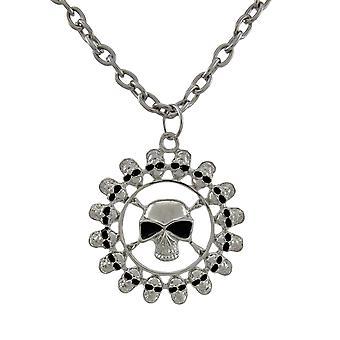 Vergulde Ring van schedels Chrome hanger en ketting