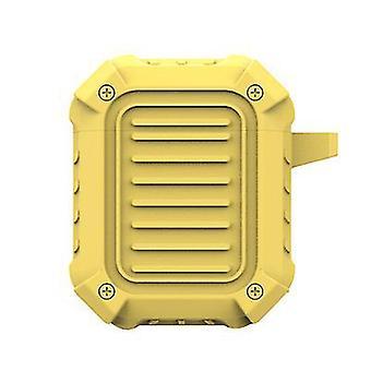 Carcasa protectora de silicona dura para Airpods con gancho (4.8 * 2.7 * 6 cm) (amarillo)