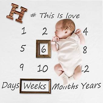 Emmailloter une couverture en coton nouveau-né mensuel Milestone Accessoires de photographie pour bébé