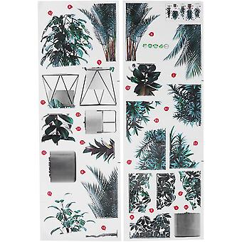 Adesivi da parete con modello di pianta in vaso verde 2 pezzi adesivi da parete autoadesivi Murales fai-da-te rimovibili per la decorazione dello sfondo del soggiorno 35,4 X 11,8 I