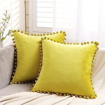 Gelbe Samt Kissenbezüge 18x18 Zoll Weiche quadratische dekorative Wurf Kissenbezüge 45cmx45cm 2 Stück