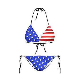 Biquíni set usa flag stripes estrela tight american