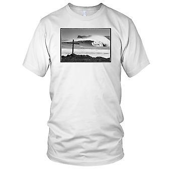 Krysse på stranden B&W - Surfing Surf Beach barn T skjorte