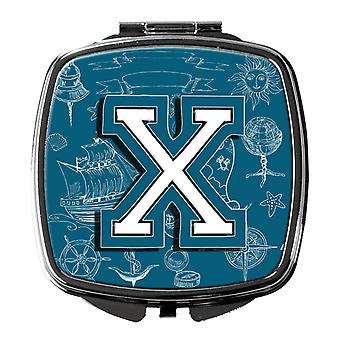 Letter X Sea Doodles Initial Alphabet Compact Mirror