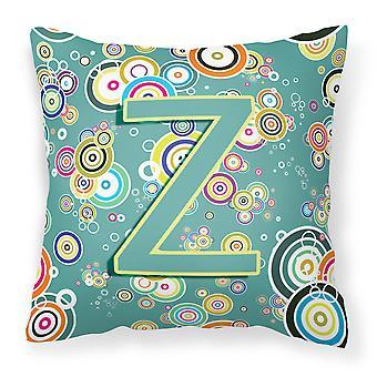 List Z okręgu koło Teal początkowe alfabet płótnie tkaniny dekoracyjne poduszki
