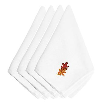 Fall Autumn Leaves Embroidered Napkins Set of 4
