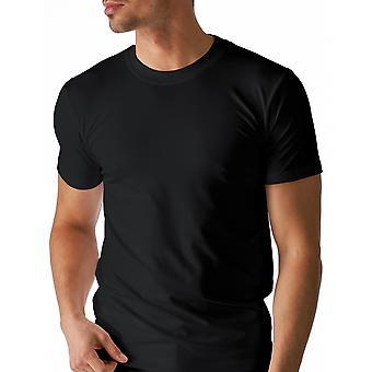 Algodão seco cor preta sólida Top de manga curta Mey 46003-123 masculino