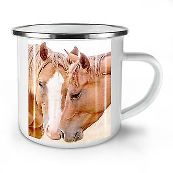 馬の顔の写真新しい WhiteTea コーヒー Mug10 オンスをエナメル |Wellcoda