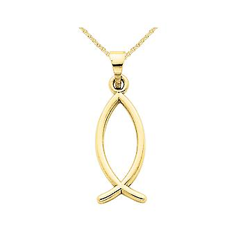 14K Yellow Gold Christian Fish Charm Pendant Necklace with Chain