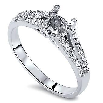 1 / 5ct Сплит хвостовик алмазов кольцо 14K Белое золото